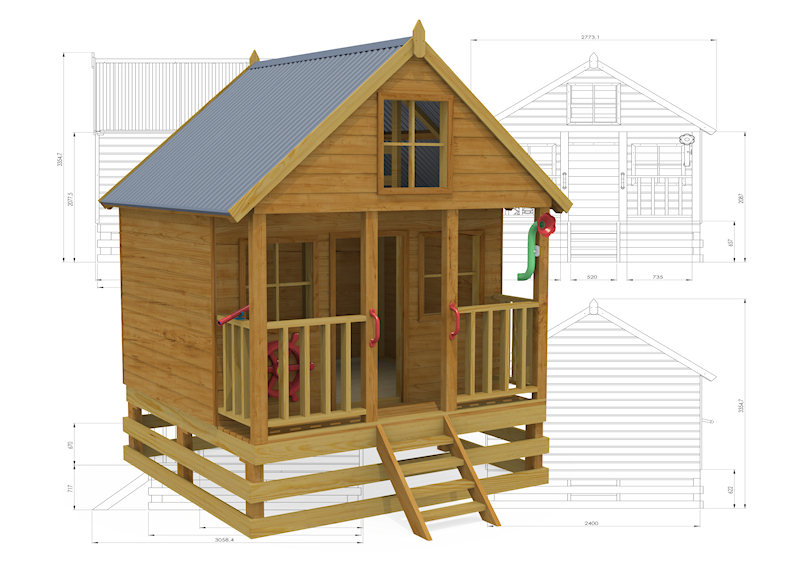 Tudor Cottage Cubbyhouse, australian-made, outdoor playground equipment, diy cubby house kits, cubby houses